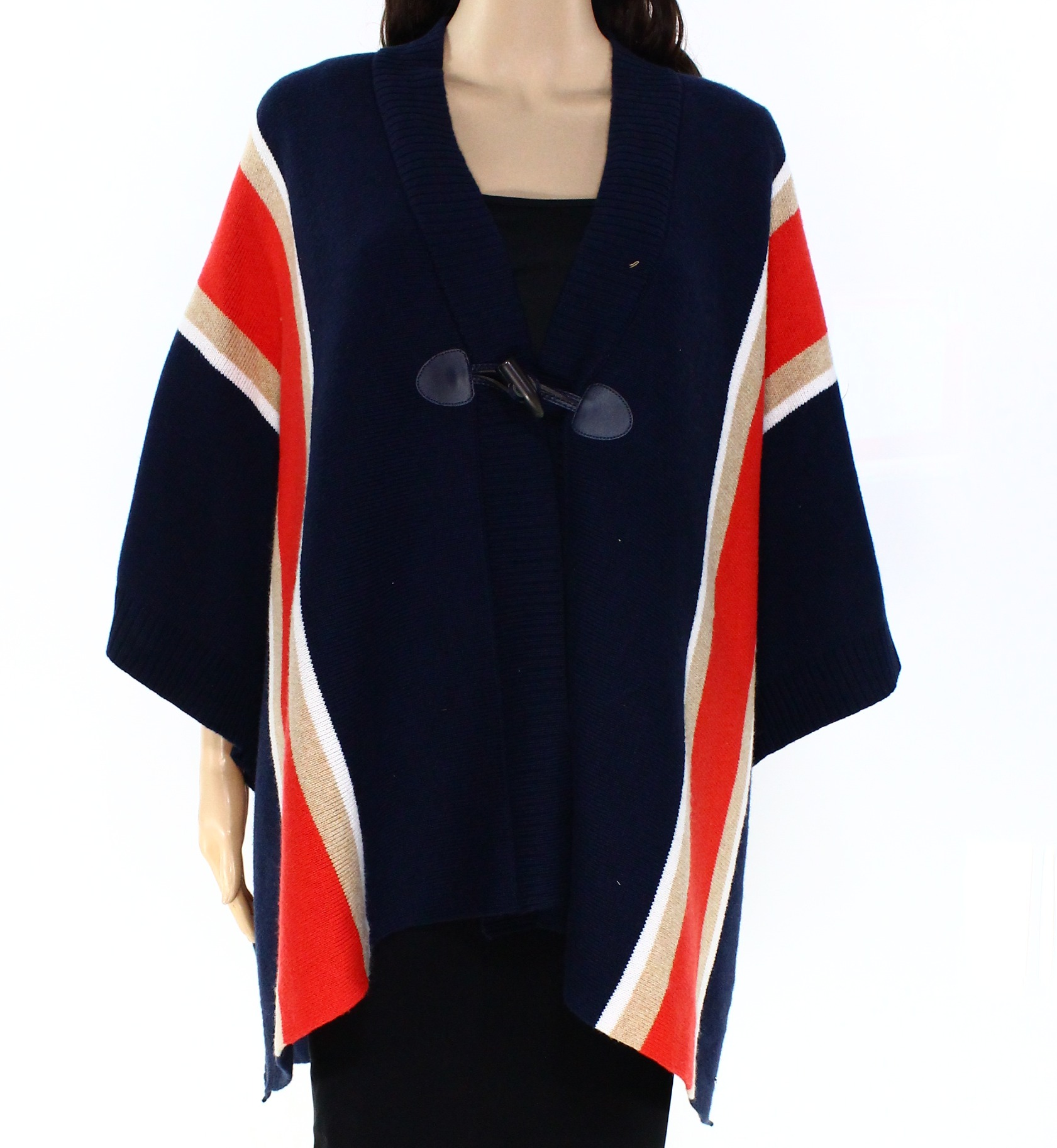 Tommy Hilfiger NEW Blue Womens One Size Cape Stripe Ponch...