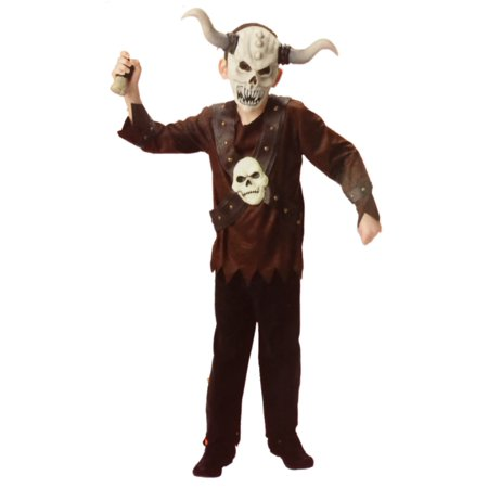 Evil Halloween Masks (Boys Evil Viking Halloween Costume Top, Pants & Mask Medium)