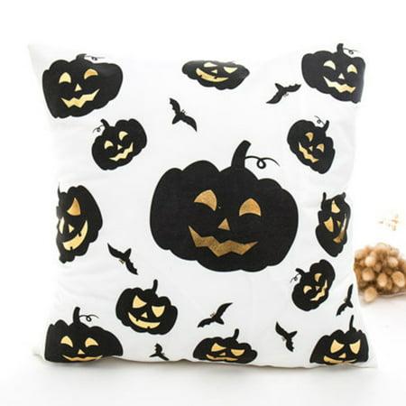 Throw A Halloween Party (KABOER Halloween Pumpkin Sofa Throw Bronzing White 18Inch Cushion Cover Pillow Case Party)