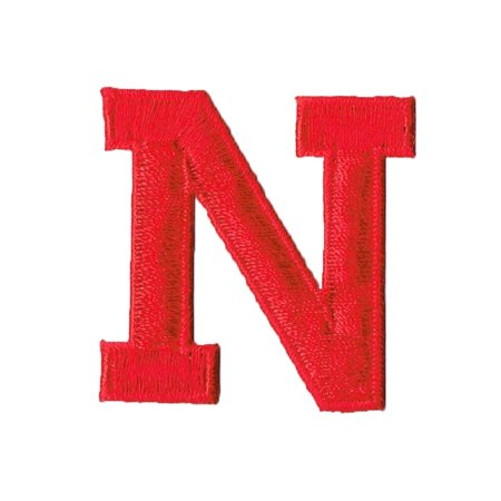 Alphabet Letter N Color Red 2 Block Style Iron On