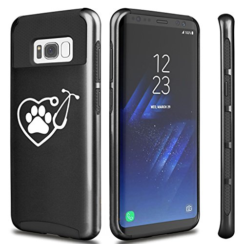 For Samsung Galaxy Shockproof Impact Hard Soft Case Cover Heart Stethoscope Vet Tech Veterinarian (Black For Samsung Galaxy S8)