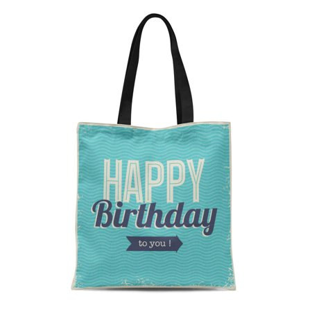 ASHLEIGH Canvas Tote Bag Blue Pattern Vintage Retro Happy Birthday Fonts and Chevrons Durable Reusable Shopping Shoulder Grocery Bag - Happy Birthday Font