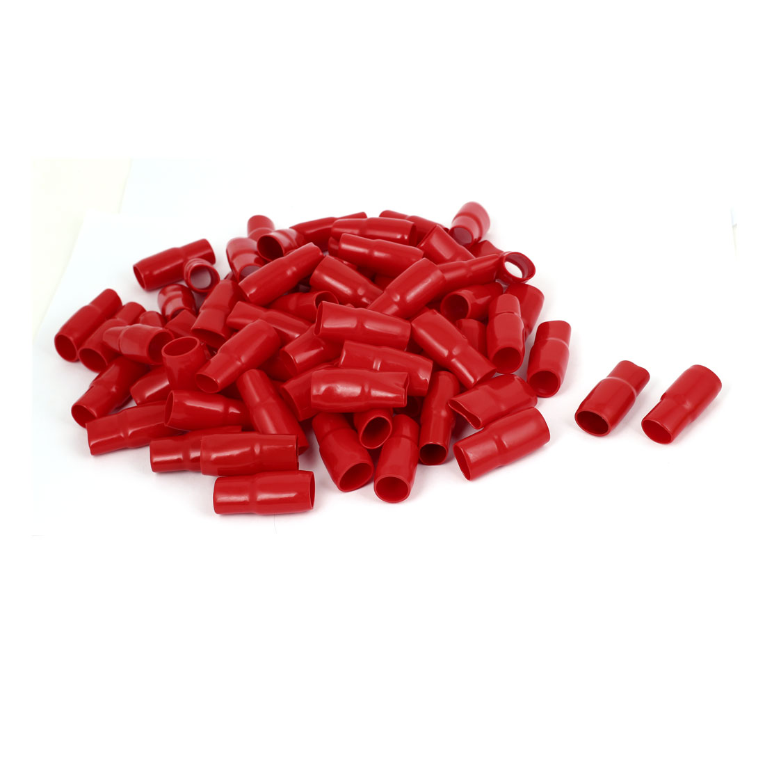 100pcs Red PVC Straight Type Terminal Wire Sleeve Protective ...