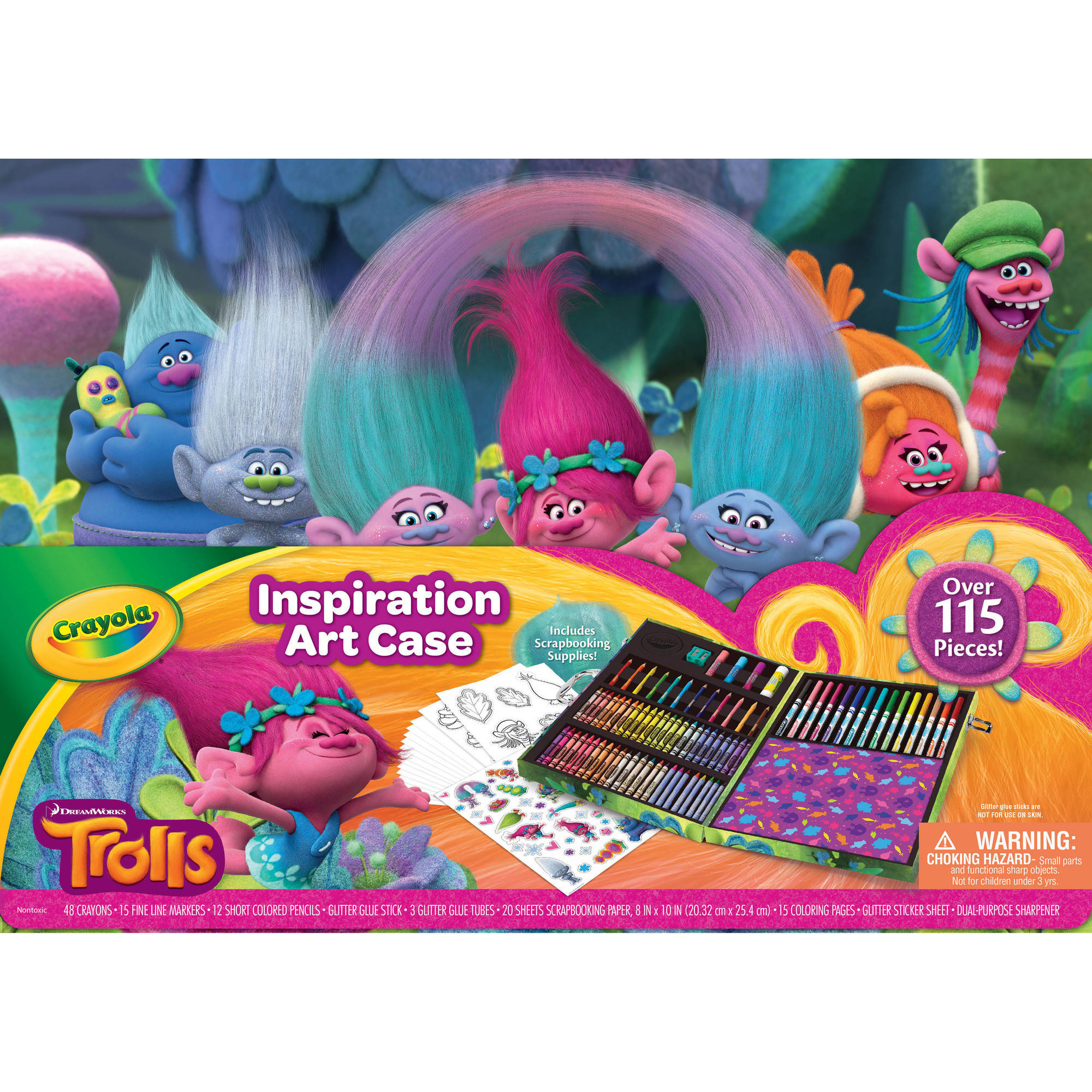 Crayola's Disney Trolls Glitter Scrapbooking Set, Includes 64 Crayons, 20 Supertips Markers, Glue Stick, Coloring Pages, Great as Gift