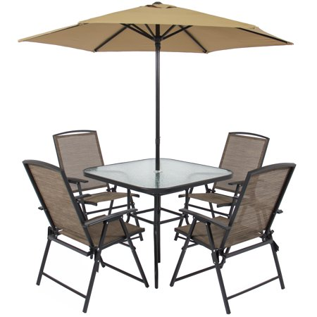 Best choice products 6pc outdoor folding patio dining set for Patio table chairs umbrella set