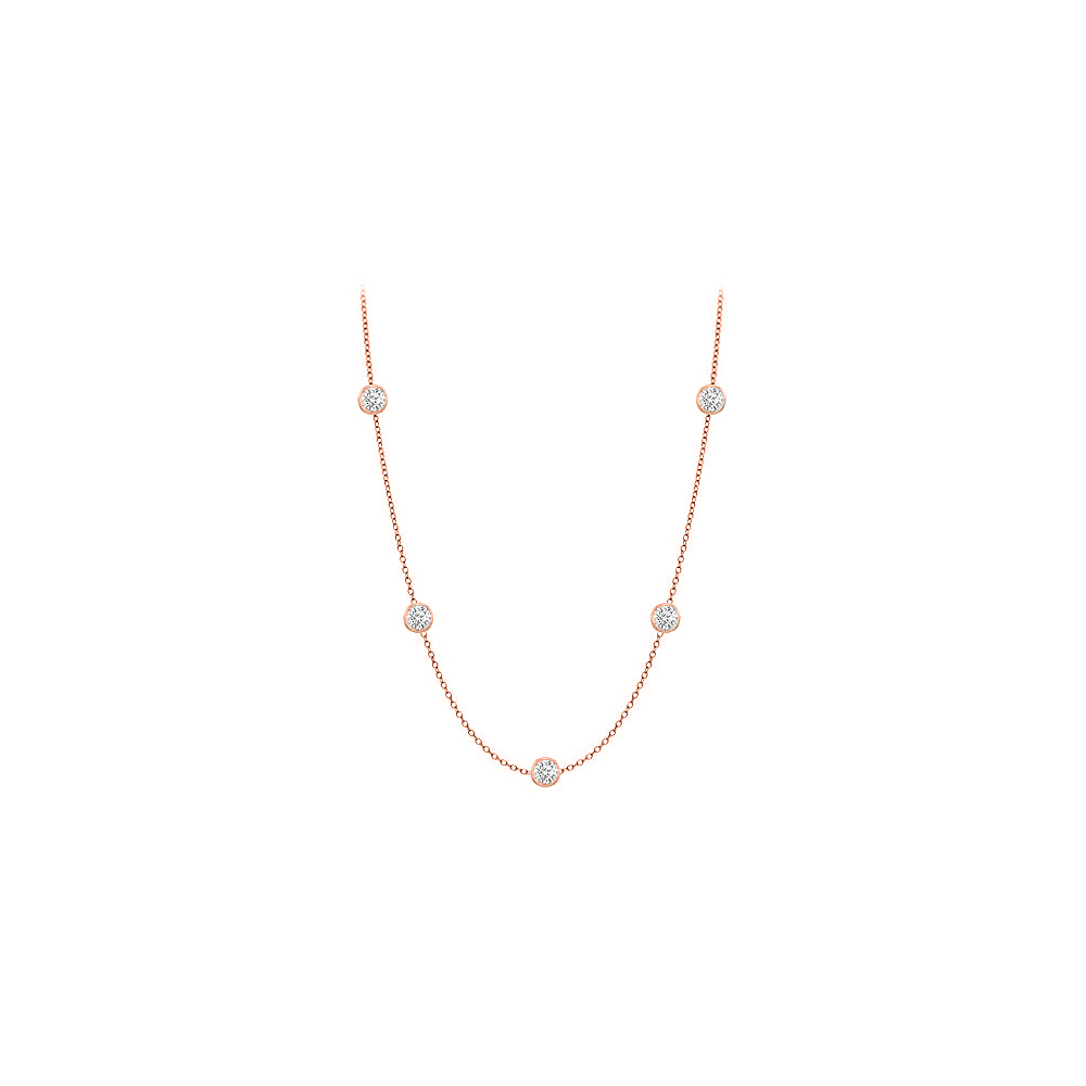 Diamonds Necklace in 14K Rose Gold Bezel Set 0.25 ct.tw by Love Bright