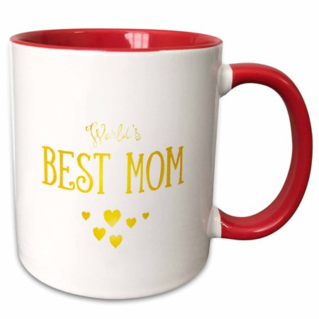 3dRose Worlds Best Mom � Golden Love - Two Tone Red Mug, 11-ounce - Worlds Best Mom