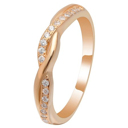 Queena Twisted Rose Gold over Sterling Anniversary Wedding Band Ring- Ginger Lyne Collection