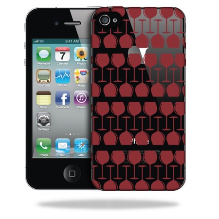 MightySkins Snap-On Protective Hard Case Cover for Apple iPhone 4 Red Wine