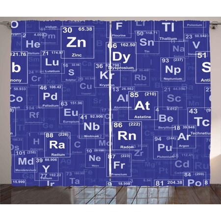 Periodic Table Curtains 2 Panels Set, Chemistry Elements in Abstract Style Science Classroom Backdrop, Window Drapes for Living Room Bedroom, 108W X 63L Inches, Royal Blue and White, by Ambesonne](Classroom Curtains)