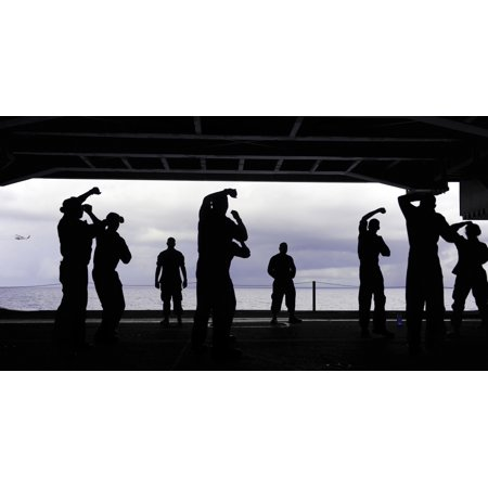 Atlantic Ocean February 7 2012   Sailors Conduct Security Reaction Force Basic Training In The Hangar Bay Aboard The Nimitz Class Aircraft Carrier Uss George Hw Bush Poster Print
