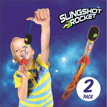 2 Pack Light Up Foam Finger Rockets, Slingshot Rocket Copters, Fun Shooting Games, for Home, Camping, Park, & Party Favor Gifts. - Finger Rockets