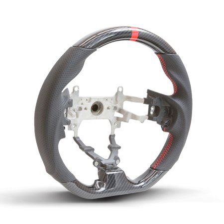 Honda Carbon - Handkraftd 12-15 Honda Civic Hydro Carbon Steering Wheel w/ Red Centering Stripe