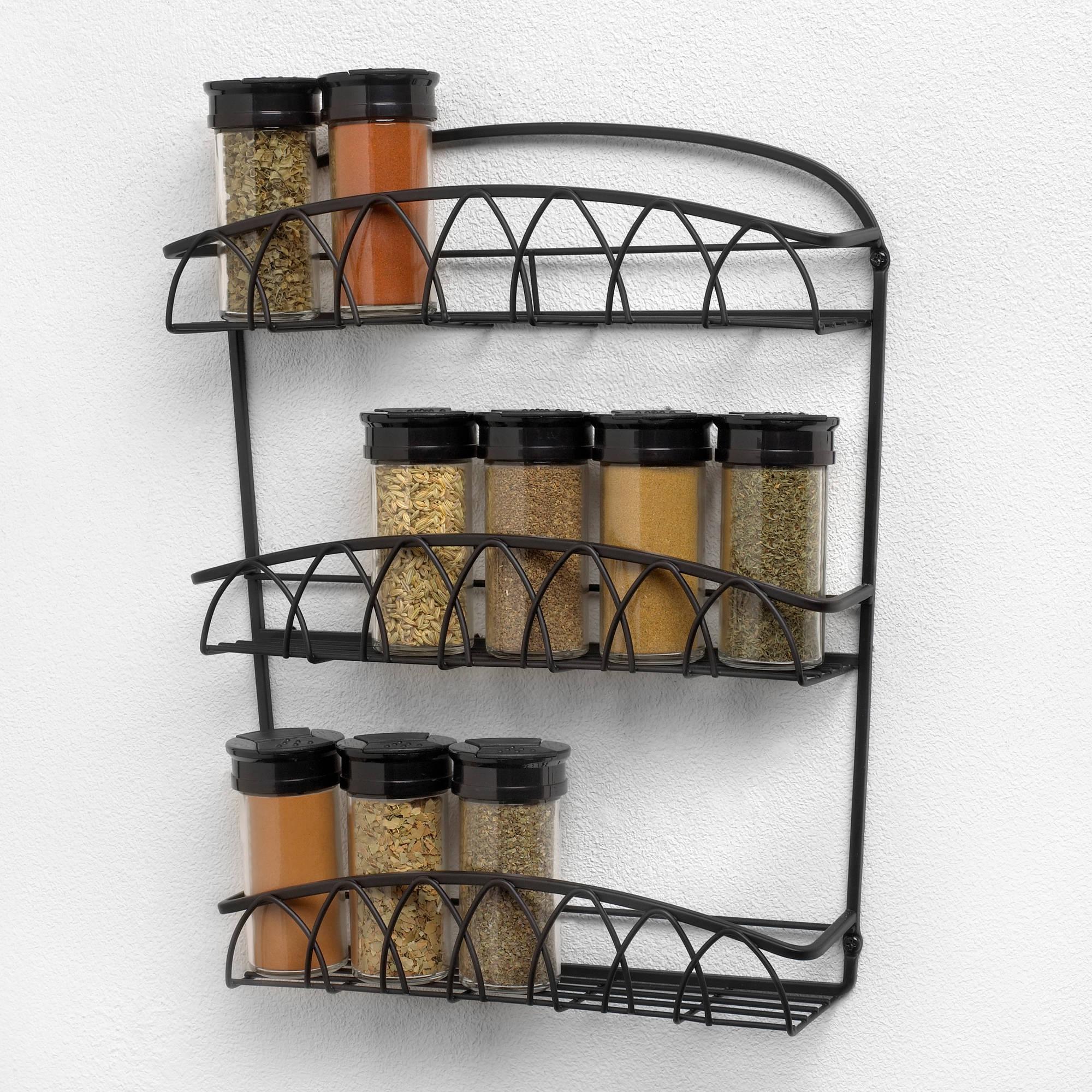 Wall Mounted Spice Rack spectrum 3-tier, 15 bottle wall mount spice rack, black twist