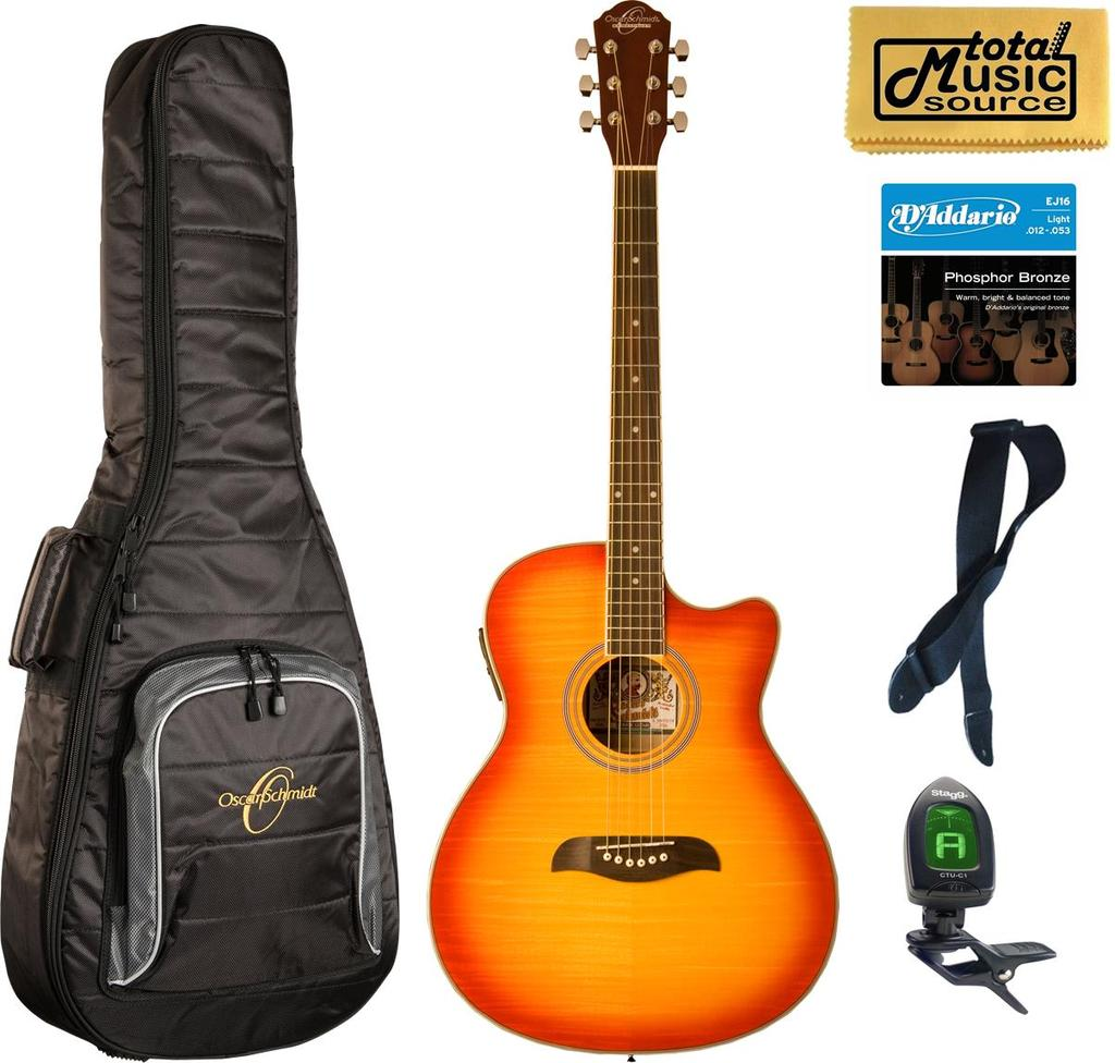 Oscar Schmidt Auditorium Acoustic/Electric Guitar, Spruce Top, Sunburst, Bundle W/Bag OACEFCS BAGPACK