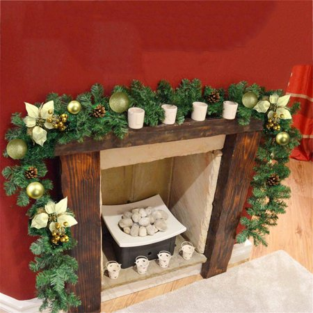 Green Christmas Garland Pine Wreath Christmas Fireplace Decor Ornament