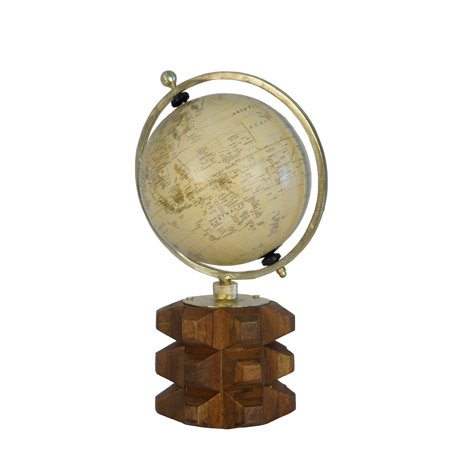 Carved Wood Bass - Globe On Solid Carved Wood Base, Multicolor