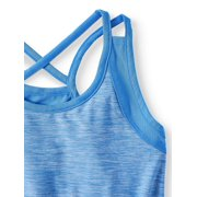 a54076cf89ae Athletic Works - Heathered Racerback Active Romper (Little Girls ...