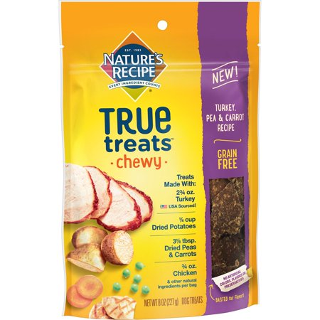 Cheeky Dog - Nature's Recipe True Treats with Turkey, Pea & Carrot, Grain-Free, Natural, Chewy Dog Treats, 8 Oz.