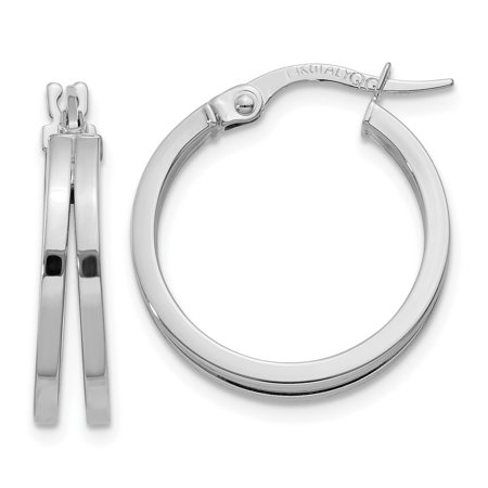 (14k Solid White Gold Polished Post Hoop Earring)