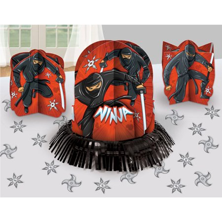 Happy Birthday 'Ninja' Table Decorating Kit - Red And Black Table Decorating Ideas