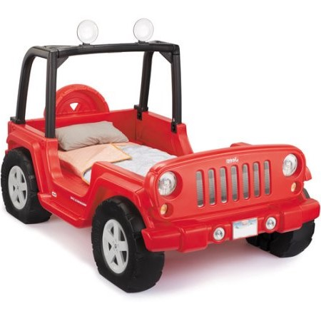 Little Tikes Jeep Wrangler Toddler-to-Twin Convertible Bed, Red