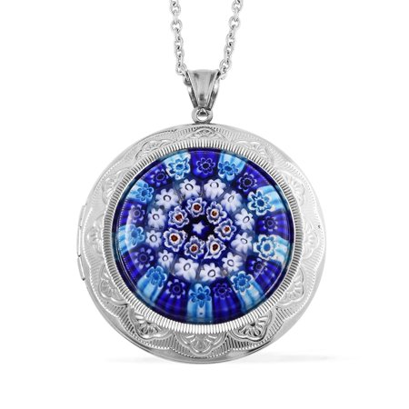 Round Murano Millefiori Glass Stainless Steel Pendant Necklace for Women 20""