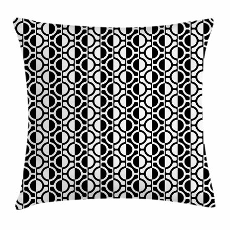 Black and White Throw Pillow Cushion Cover, Lattice Pattern with Geometric Circles and Lines Abstract Monochrome Grid, Decorative Square Accent Pillow Case, 18 X 18 Inches, Black White, by