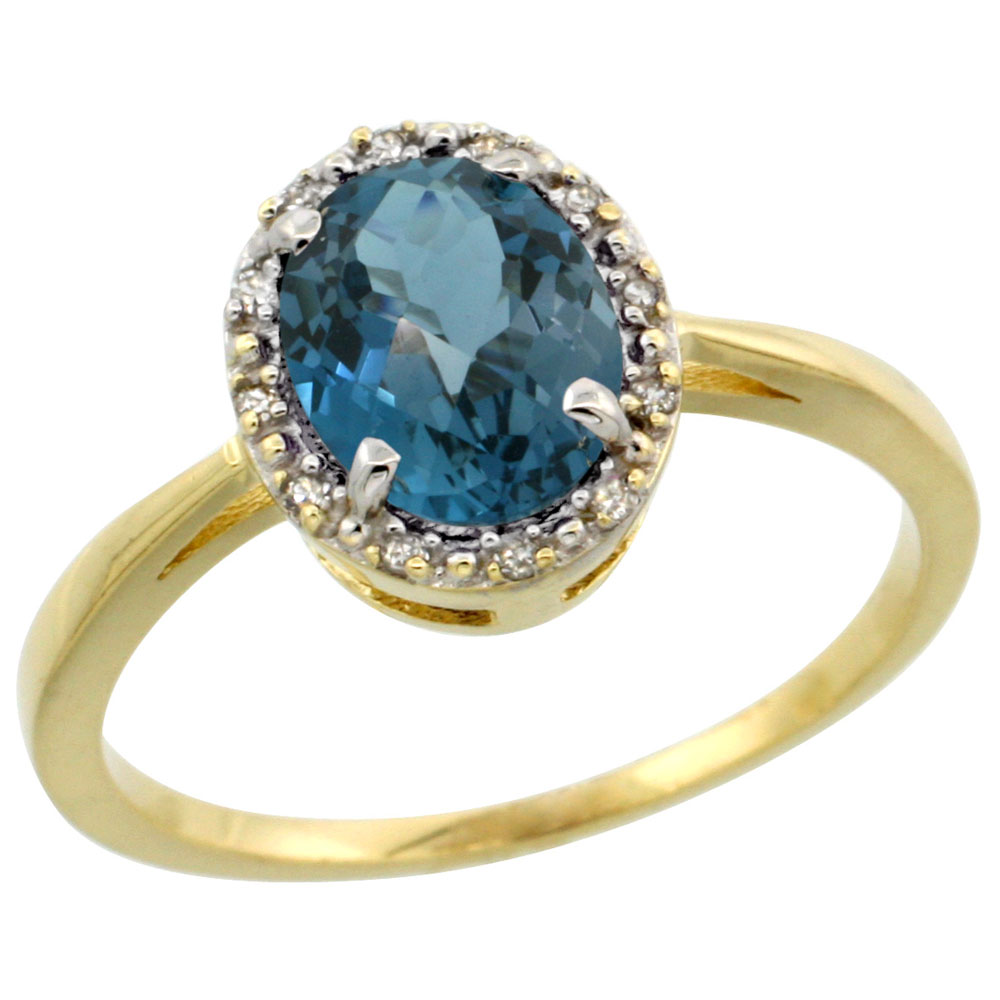 10k Yellow Gold Natural London Blue Topaz Ring Oval 8x6 mm Diamond Halo, sizes 5-10 by WorldJewels