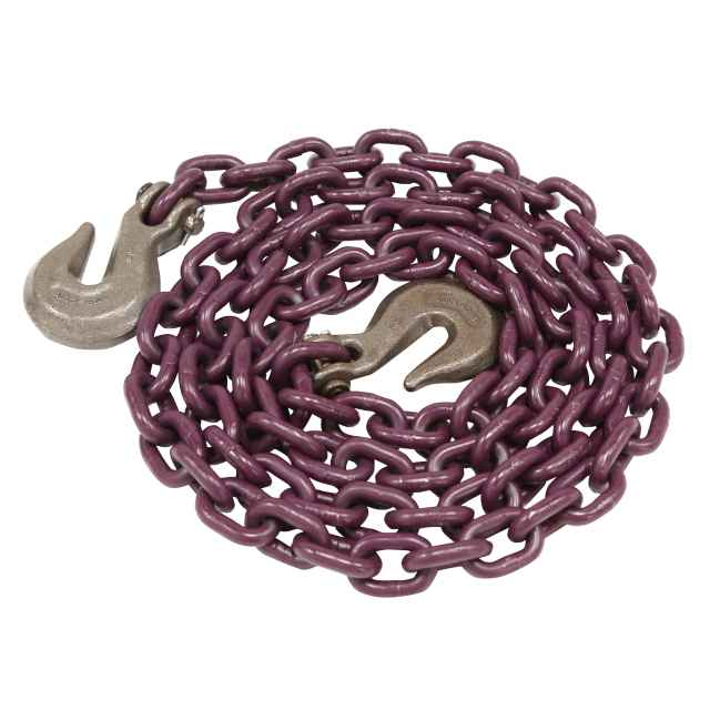 "Tie Down Chain Assembly 5/16"" x 10' w/ Clevis Grab Hooks - Grade 100"