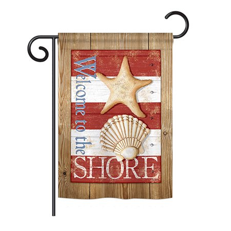 Breeze Decor - Welcome to the Shore Coastal - Everyday Nautical Impressions Decorative Vertical Garden Flag 13