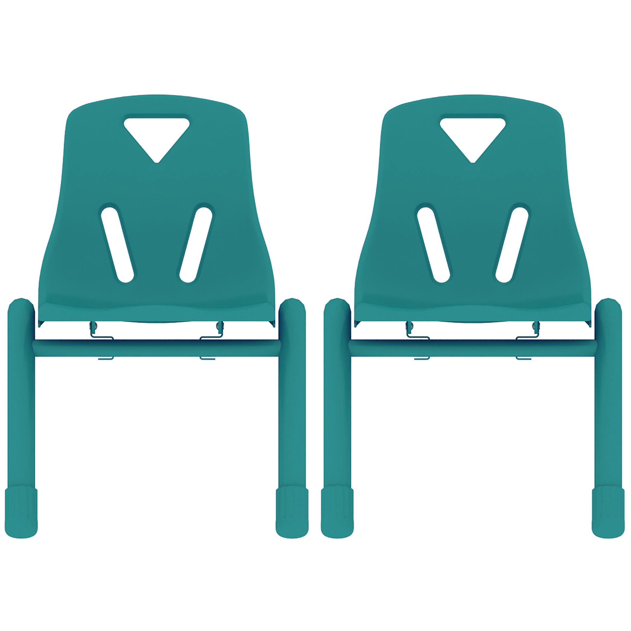 "2xhome - Set of 2, Red 12"" Seat Height Modern Kids Plastic Stacking School Chairs Activity"