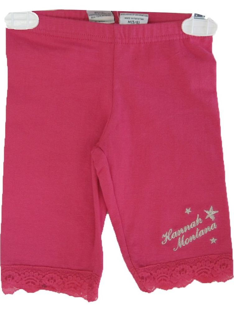 Little Girls Pink Hannah Montana Star Embroidery Lace Capri Pants 4-6X