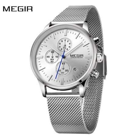 100m Subdials Bracelet - MEGIR High-end Steel Mesh Watchband Business Man Wristwatch Excellent Quartz Watch With Calendar and Sub-dial