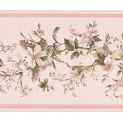Wallpaper Border - Flowers on Vine Floral Wall Border for Kitchen Bathroom Living Room, Roll 15 ft X 7 in