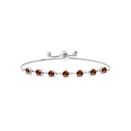 2.80 Ct Round Red Garnet 925 Sterling Silver Bracelet