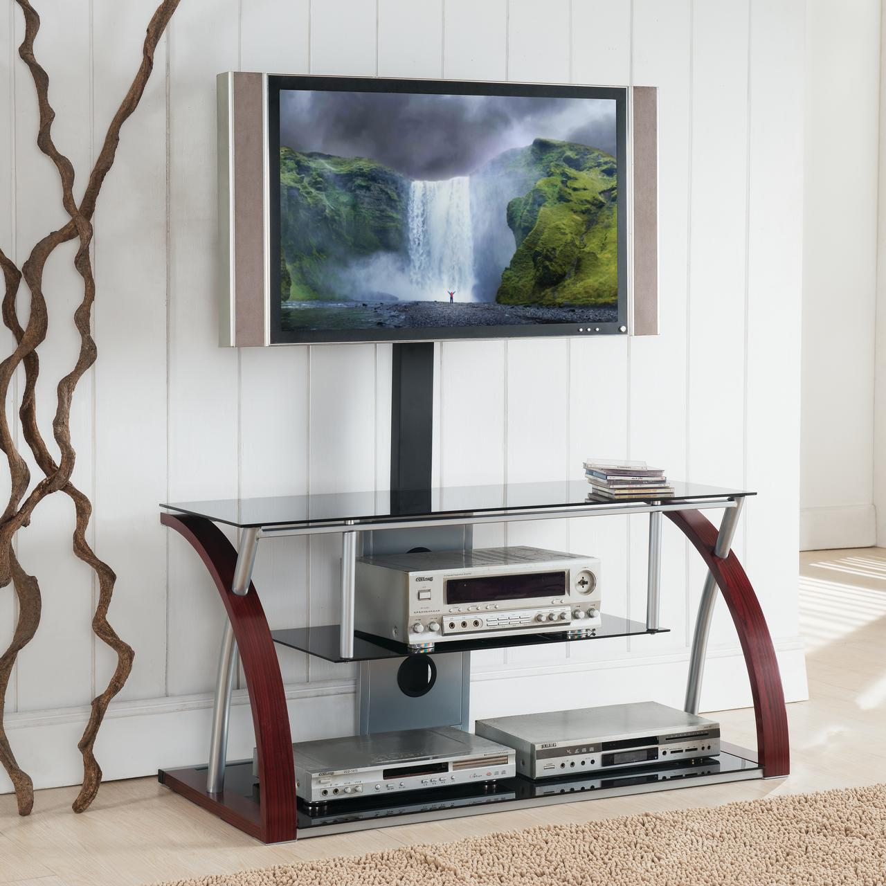 Home Source Logan Plasma TV Stand with Mount and 3 Black Glass Shelves, Cherry Wood Grain and Chrome Frame