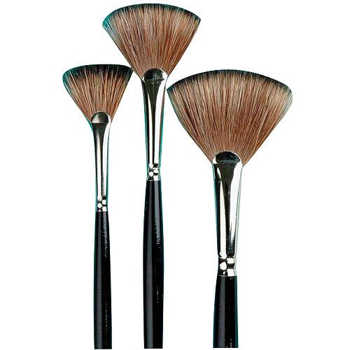 Sax Natural Badger Long Lacquered Handle Fan Blender Brush Set, Assorted Size, Set of 3