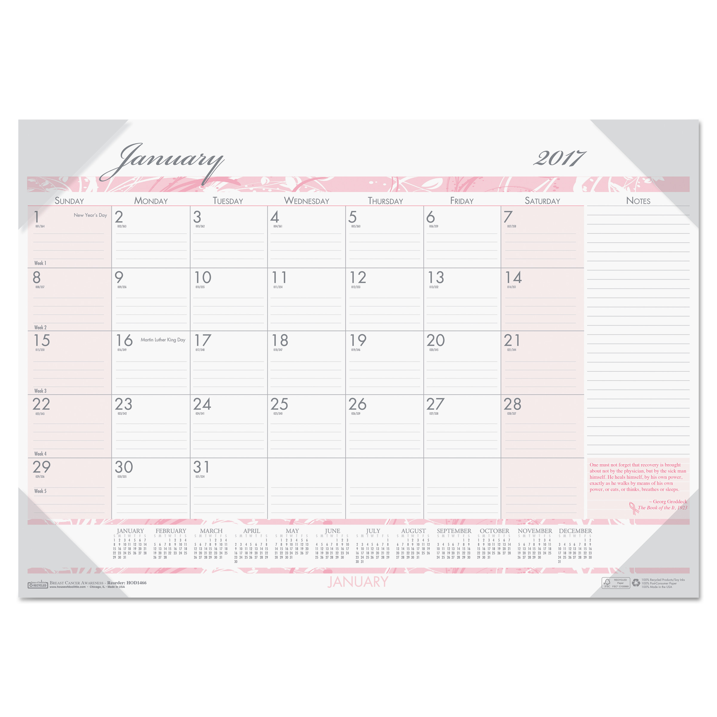 House of Doolittle Recycled Breast Cancer Awareness Monthly Desk Pad Calendar, 18 1/2 x 13, 2017