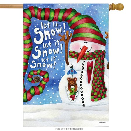Big Hat Snowman House Flag Let it Snow Carrot Nose Large Banner 29