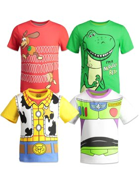Disney Pixar Toy Story Boys' 4 Pack T-Shirts Woody Buzz Lightyear Rex Slinky Dog (Toddler, Little, & Big Boys)