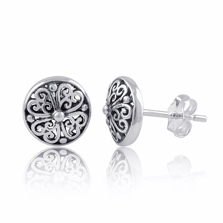 Sterling Silver Filigree Boho Clover Stud Earrings - 9mm
