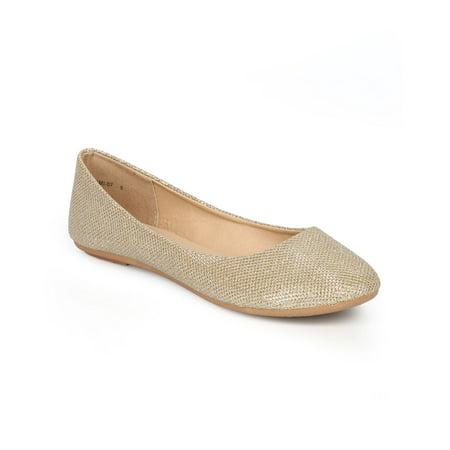 Refresh CG89 Women Glitter Shimmer Round Toe Slip On Ballet Flat (Shimmer Flats)