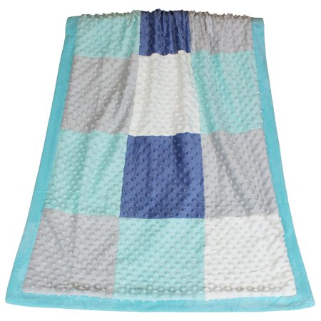 The Peanut Shell Mosaic Baby Blanket Gray White Marine Blue And Aqua