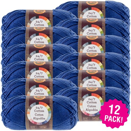 Lion Brand 24/7 Cotton Yarn - Navy, Multipack of 12 ()