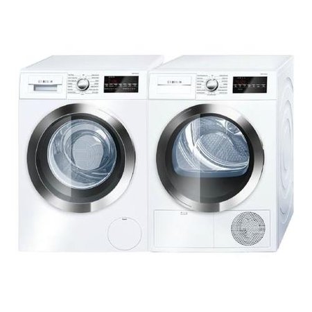 800 Series White Front Load Compact Laundry Pair with WAT28402UC 24 Washer and WTG86402UC 24 Electric Condensation (Best Rated Front Load Washer And Dryer 2019)