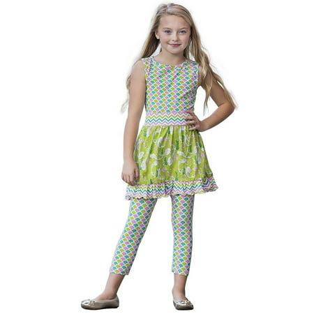AnnLoren Little Girls Green Summer Mermaid Dress Capri Clothing Outfit - Green Girl Dresses