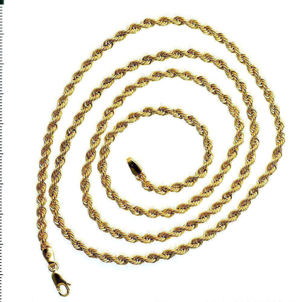 Solid 10K Yellow Gold Mens Rope Link Chain 11.22 gram 4.4 mm Necklace 30 inches by J&H Jewelers
