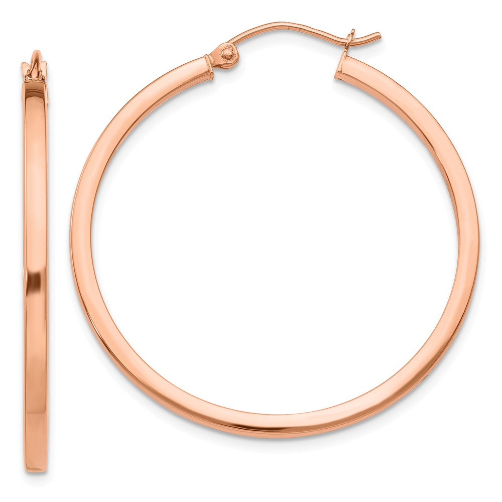 14k Rose Gold Light Weight Square Tube Hoop Earrings (1.4IN Long)