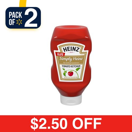 (2 Pack) Heinz Simply Heinz Tomato Ketchup, 31 oz Bottle - Ketchup Hat